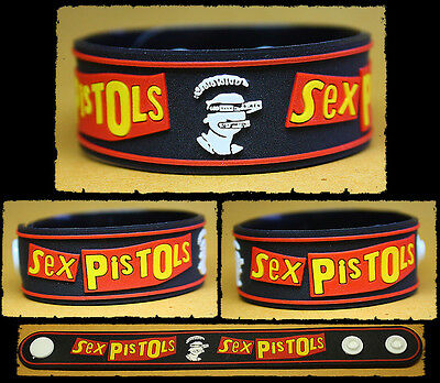 SEX PISTOLS Rubber Bracelet Wristband    God Save The Queen    Red