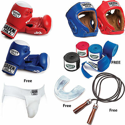 Greenhill Boxing Set Leather Boxing Gloves Head Guard Jump rope Bandage Training