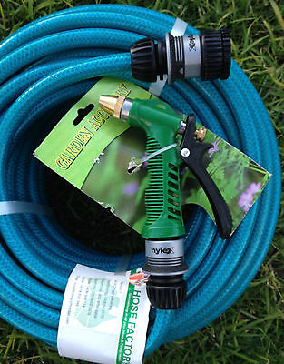 "Garden Water Hose 4 Layer Knitted 2 X 15M Nylex 12mm - 1/2"" Fittings Gun Kink F"