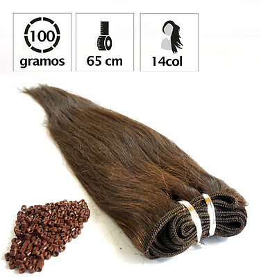 Extensiones Cosidas Cabello Natural 100 Gr Y 65Cm. De Largo + 100 Anillas