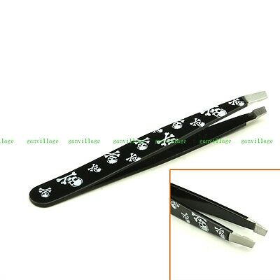Easy Shaping Eyebrow Tweezer Removal Tool Clip Clamp Slant Tip White Skull NEW