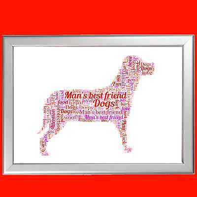 WORD ART FOR Pet Memorial - DOG PAW- LOST PET - PERSONALISED (ANY PET AVAILABLE)
