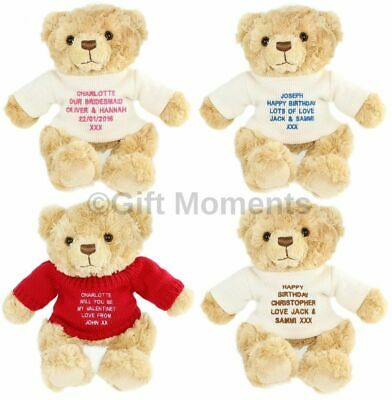 Personalised Custom Embroidered Teddy Bears - Christmas, Birthday Gift for Her