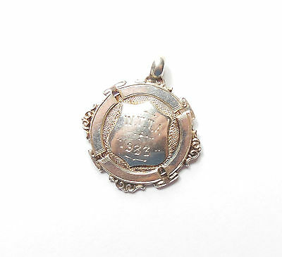Antique Chester 1933 925 Silver THOMAS JAMES SKELETON WATCH FOB MEDAL 9.3g