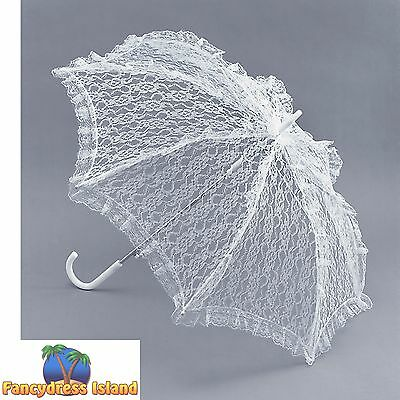 VICTORIAN WHITE LACE PARASOL - womens ladies fancy dress accessory