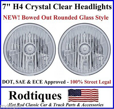 """7"""" Round H4 Headlights Crystal Clear DOT SAE ECE Bowed Glass Head Lamps - 1"""