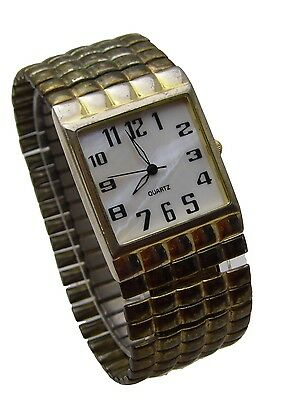 """Unbranded 7"""" Watch Wide White Shell Face Black Numbers & Hands Analog WORKS"""