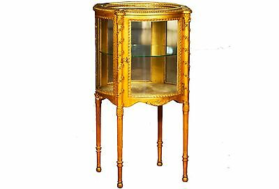 1800s ANTIQUE CURIO GOLD FINISH 2-LEVEL GLASS DOOR & WINDOWS GORGEOUS!! MUST SEE