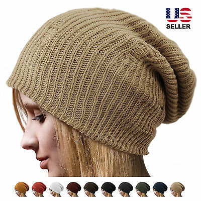 Crochet Knit Oversize Men's Women's Baggy Beanie Slouchy Winter Hat Ski Cap