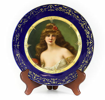 Royal Vienna UnderGlazed Hand Painted & Signed Cabinet Plate; Gilt & Cobalt Blue