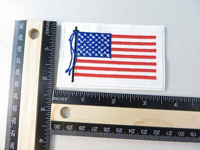 American flag USA patriotic white border iron on embroidered patch applique