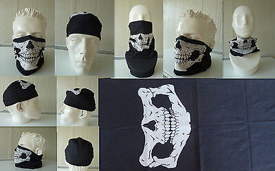 'SKULL' Head/Face/Mask/Neck Multi-wear tube Bandana/Durag. SPF5, Scarf/Wrap.