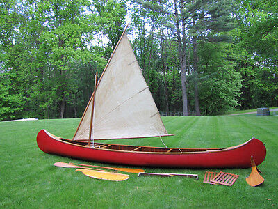 1947 Old Town Sailing Canoe Complete 17' rudder Sail paddles lazy backs wood