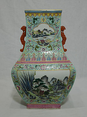 Large Chinese Famille Rose Porcelain Vase With Mark