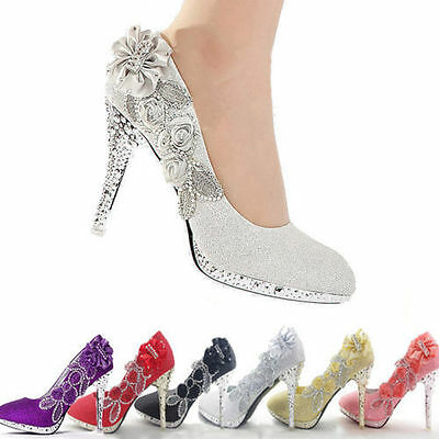 Glitter Wedding Bridal Evening Party Crystal High Heels Women Shoes Bridesmaid