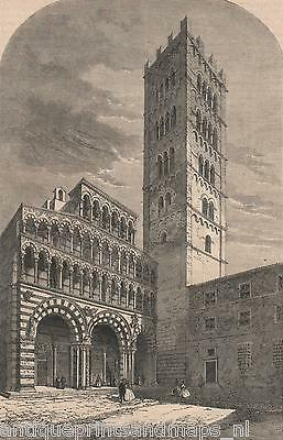 Antique print,The Cathedral of St Martin Lucca Duomo di Lucca stampa antica 1860