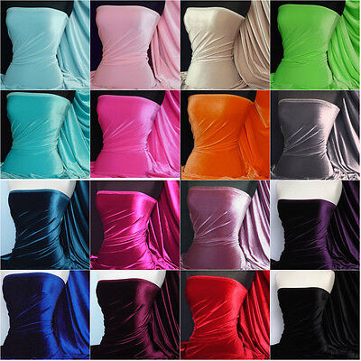 Velvet 4 Way Stretch Spandex Fabric Material Q559 Various Colours FREE P&P