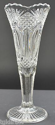 """Vintage Mosser Glass Vase Classic Diamond Pattern Collectible Home Decor 8"""" Tall"""