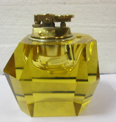 Classic Amber Glass Art Deco Prism Lighter - Lovely Piece- will need to refill!
