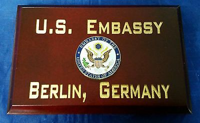 "U.S. Embassy Berlin, Germany Cherry Wood Beveled Edge 4""X 6"" Sign MADE IN USA"