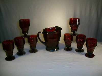 9 pcs Ruby Red Viking Glass Georgian Water Serving Set - 8 Goblets & 1 Pitcher