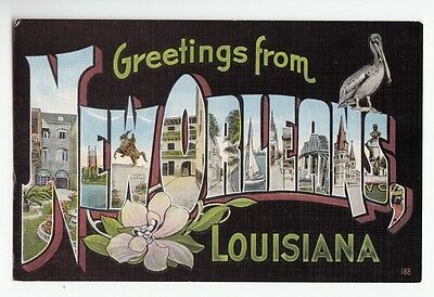 [48834] Old Large Letter Postcard Greetings From New Orleans, Louisiana