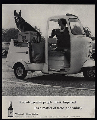 1961 Cute GERMAN SHEPHERD Dog & IMPERIAL Whiskey - Golf Cart - VINTAGE AD