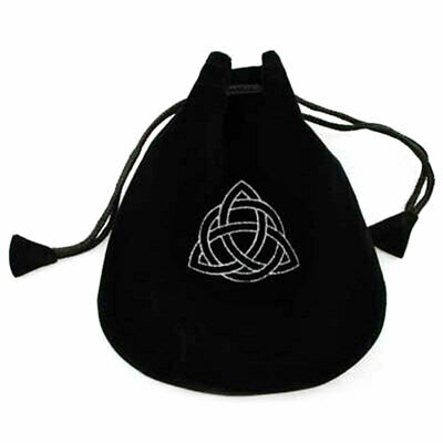 "NEW Triquetra Drawstring Bag Runes Dice Crystals 5"" Black Velvet Pagan Wicca"