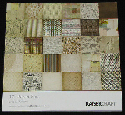 "Kaisercraft 'TIMELESS' 12"" Paper Pad - 60 Sheets (30 Designs x2) *NEW* KAISER"