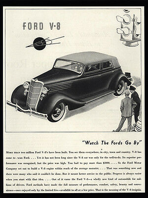 1935 FORD V-8  4-Door Car - Watch The Fords Go By - VINTAGE AD