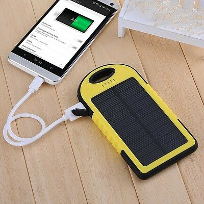 Waterproof 5000MAH Dual-USB Solar Power Bank Battery Charger for HTC One M7 M8 S