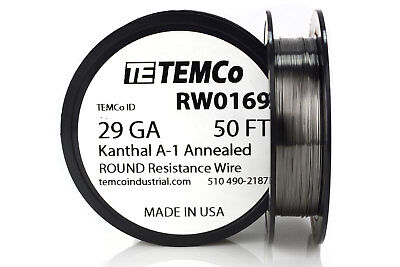 TEMCo Kanthal A1 wire 29 Gauge 50 Ft Resistance AWG A-1 ga