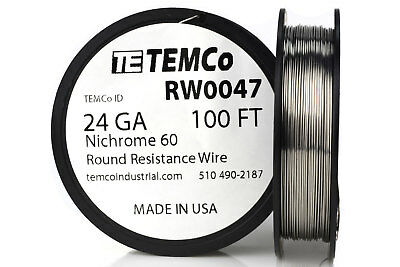 TEMCo Nichrome 60 series wire 24 Gauge 100 Ft Resistance AWG ga