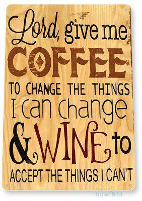 "TIN SIGN ""Coffee & Wine"" Metal Art Store Cottage Farm Shop Kitchen Bar A041"