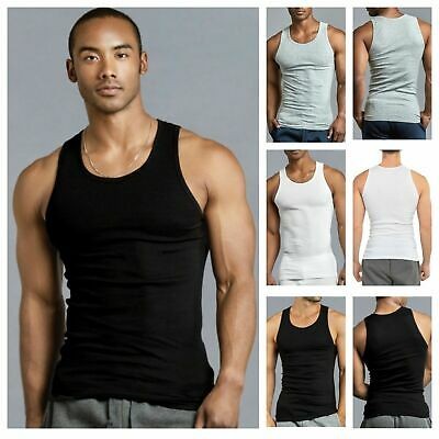 Lot of 3 Mens Tank Top 100% Cotton A-Shirt Undershirt Wife Beater Ribbed S~3XL