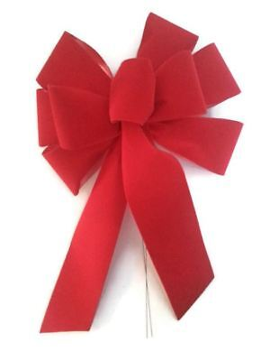 "3 Large 10"" Hand Made Christmas Bows - Red Velvet Indoor Outdoor Wreath Ribbon"