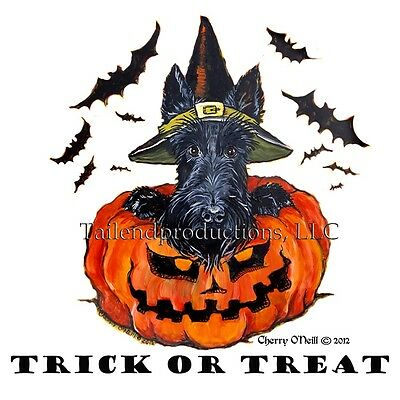 Scottish Terrier Halloween Greeting Card Set of 10 Scottie Witch and Pumpkin