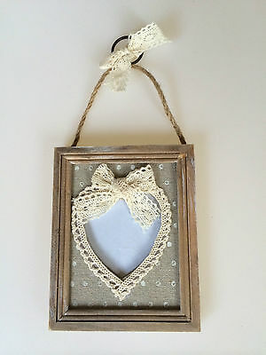 SHABBY Wooden Chic Vintage Lace Hanging Heart Photo Picture Frame