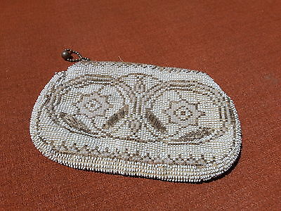 1930's Micro Beaded Small Clutch Purse Ivory True Vintage