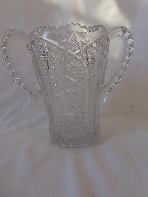 ANTIQUE 1912 EAPG IMPERIAL OCTAGON CELERY CRYSTAL GLASS HANDLE VASE DISH