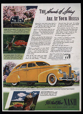 1939 NASH Yellow - Red - Blue 4-Door Sedan - Car - Hounds Of Spring - VINTAGE AD