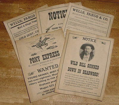 5 Old West Posters Notices Ads Pony Express wanted, Wild Bill, Wells Fargo more