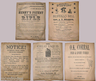 5 Old West Posters Notices Ads Henry Rifle Buffalo Bill OK Corral, wanted, more!