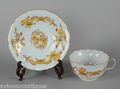 Meissen Pocelain Cup & Saucer Ming Dragon Yellow