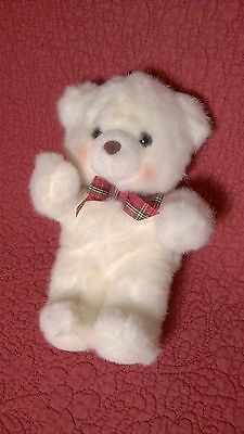 "8"" Russ HUGGUMS BEAR white plush stuffed w/ red plaid bow & rosey cheeks"