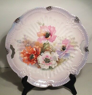 """Open Handled Cake Plate Purple Luster Ware With Poppies Made In Germany 10"""""""