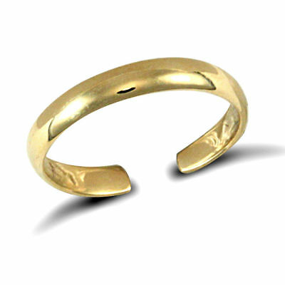 NEW 9ct Solid Yellow Gold Adjustable D-shaped Band Toe Ring