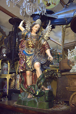 MASTERPIECE ARCHANGEL ST MICHAEL HAND CARVED WOODEN SPANISH COLONIAL