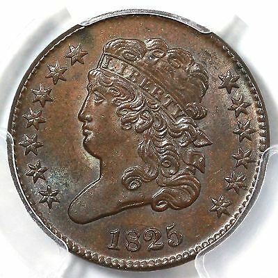 1825 C-2 PCGS MS 62 BN Classic Head Half Cent Coin 1/2c