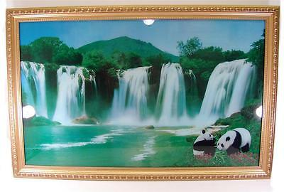 LARGE VINTAGE MOTION ILLUSION WATERFALL PANDA FRAMED PICTURE LIGHT SOUND